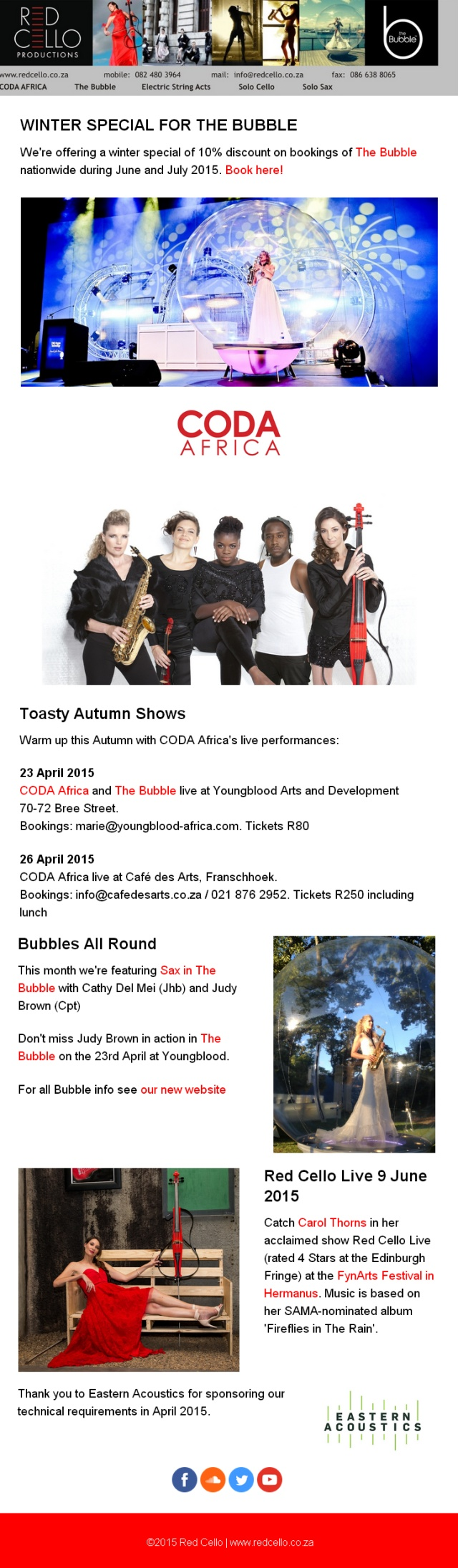 Autumn Red Cello Shows and Specials