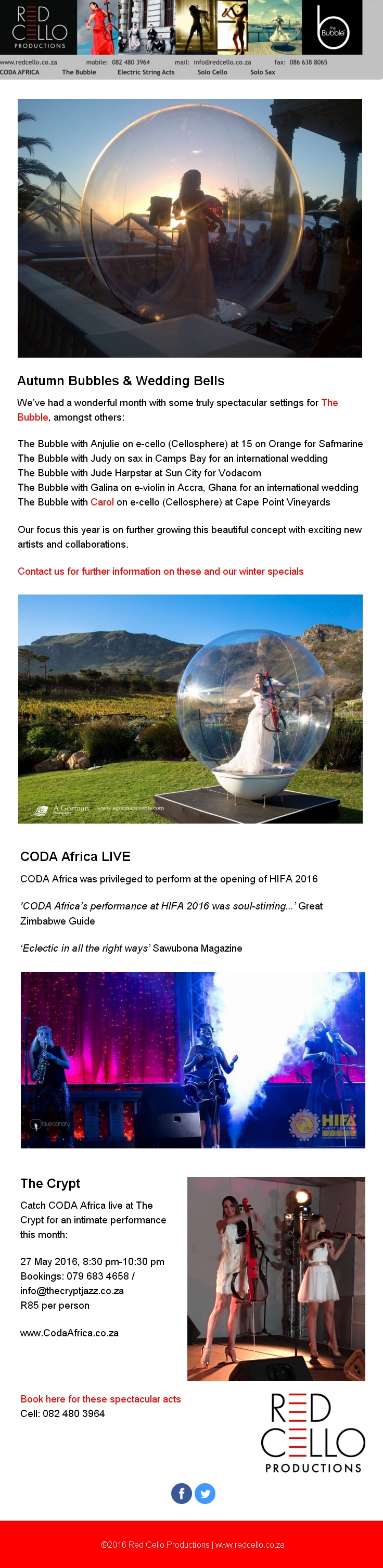 CODA Africa at The Crypt & Wedding Bubbles